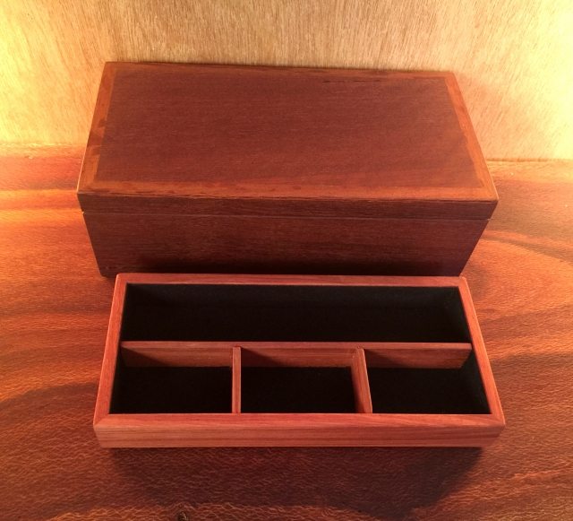 Slim Line Jarrah Jewellery Box with four divisions in removable top tray