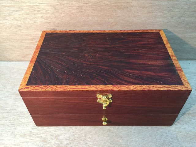 Jarrah Burl Jewellery Box with six divisions and bottom drawer