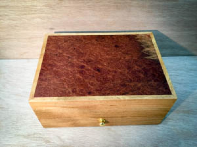 Marri Jewellery Box with Eucalypt Burl lid  - Hand crafted in Australia L2581