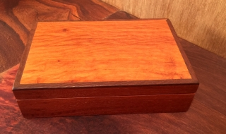 Classic Memento Box - Jarrah with Sheoak Lid and Woody Pear Beading Black Lining (CPB0009-1470) SOLD