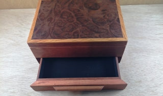 Premium Jewellery Box with Jarrah Burl Lid and Drawer (PJBD-3890) SOLD