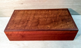 Jarrah Jewellery Bos (Large) with Lace Sheoak Lid, Top Tray - Blue Lining (PJBT19001-L2640)