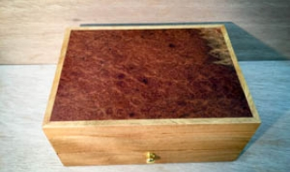 Marri Jewellery Box with Eucalypt Burl lid, Bottom Drawer, Black Lining (PJBD19002-L2581) SOLD