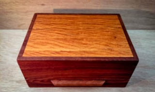 Jarrah Jewellery Box with Sheoak Lid and Bracelet Drawer (PJBD19003-L3624) SOLD