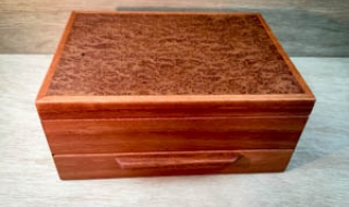 Pink Jarrah Jewellery Box with Eucalypt Burl Lid, Bracelet Drawer SOLD