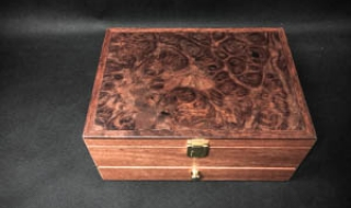 Jarrah Jewellery Box with Jarrah Burl Lid, Bottom Draw, Black Lining (PJB19005-L5182) SOLD