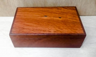 Jarrah Jewellery Box  with Sheoak Lid, Tray, Blue Lining  (CJBT19005-L5235)