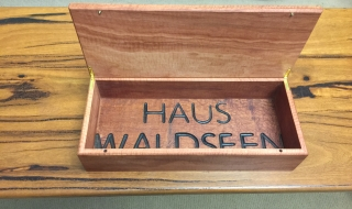 Custom Made Human Cremation Box - Pink Jarrah - Client's timber base