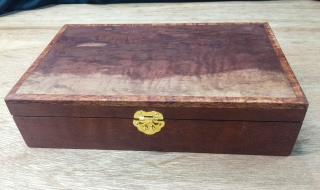 Premium Keepsake Box (Medium) - Figured Jarrah with Blue Lining (PPB19004/5529) SOLD