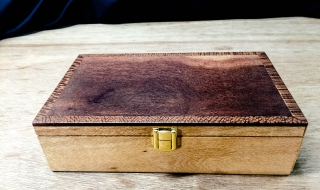 Premium Keepsake Box- Silky Oak Box with Woody Pear Lid and Blue Lining (PKB19005-L5561))