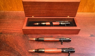 Bullet Pens Hand Turned from Old Mandurah Bridge Timber L6527