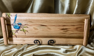 Camphor Laurel Wooden Tapas/Grazing Board with Blue Wren - TB20003-L7029 SOLD